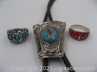 Bolo Tie and 2 Rings