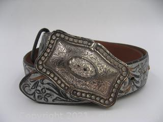 Justin Black White-Wash Silver Leather Cowgirl Belt