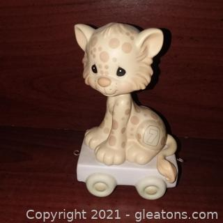 Precious Moments Age 7 Birthday Train Leopard Figurine