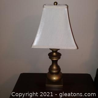 Small Brushed Gold Table Lamp with Shade