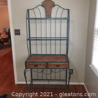 2 Drawer Wrought Iron Baker's Rack