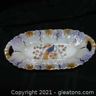 Registered Celebrated Iridescent Handled Dish- Peacock