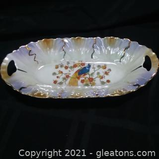 Registered Celebrate Iridescent Handled Dish- Peacock