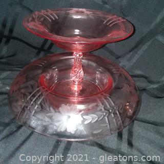 Vintage Etched Pink Console Bowl with Bowl