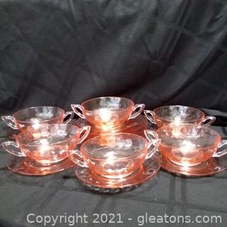 Vintage Pink Depression Glass- Bubble Pattern