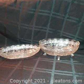 2 Cut Glass Bowls- Sawtooth with Scalloped Edge