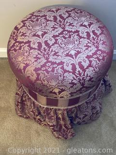 Burgundy and Gold Cushioned Vanity Stool