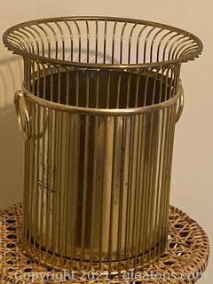 Hollywood Regency Wire Waste Basket