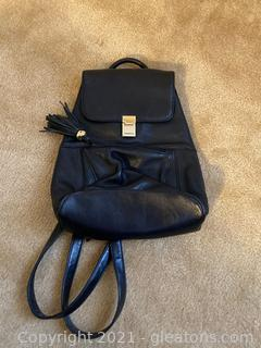 Carriage House Black Leather Backpack