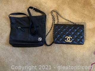Lot of 2 Chanel Black Clutch (Not Authenticated) Giani Bernini Black Bag