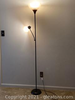Brown Adjustable Arm Floor Lamp