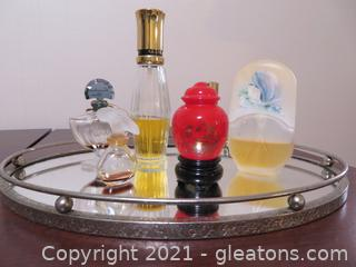 Vintage Perfume Bottle Collection (6 Bottles) On Oval, Mirrored Tray