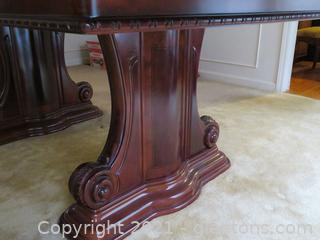 High End, Carved, Mahogany with Burlwood Inlay Design, Double Pedestal, Dining Table