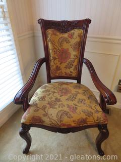 High End, Carved Mahogany Formal Dining Chairs-Captains Chairs (Two)  Only one is pictured.