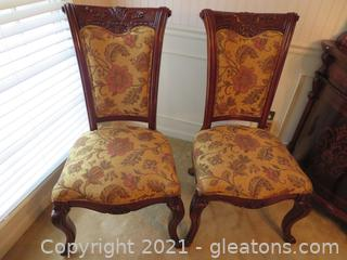 High End, Carved Mahogany Formal Dining Side Chairs (Set of 2) A