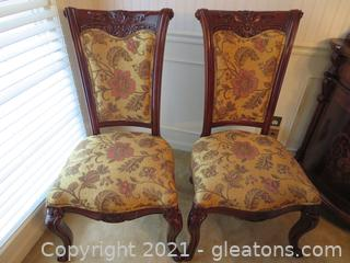 High End, Carved Mahogany Formal Dining Side Chairs (Set of 2) B