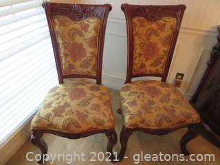 High End, Carved Mahogany Formal Dining Side Chairs (Set of 2) C