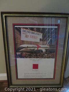 """""""The Spirit of Delta"""" Boeing 767, December 15, 1982 Framed Poster"""