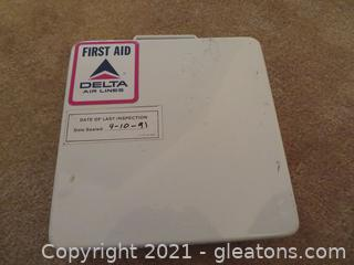 Delta Air Lines First Aid Kit - Last Sealed 9-10-1991
