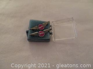 Two Delta Air Lines One Year Service Pins (Pre 1978) New In Box