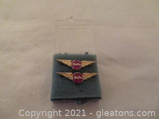 Two Delta Air Lines Five Year Anniversary Pins (Pre 1978) New In Box (A)