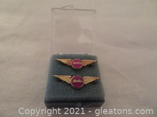 Two Delta Air lines Five Year Service Pins (Pre 1978) New In Box (B)