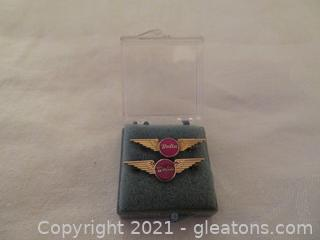 Two Delta Air lines Five Year Service Pins (Pre 1978) New In Box (C)