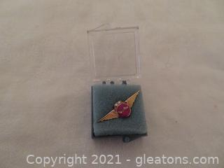 New In Box Delta Air Lines Twenty Five Year Service Pin (Pre 1978) With Two Diamonds (B)