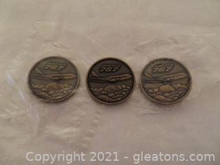 Three Bronze Commemorative Project 767 Coins Delta Air Lines 1982 (A)