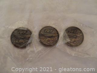 Three Bronze Commemorative Project 767 Coins Delta Air Lines 1982 (B)