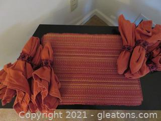 Beautiful Set of 8 Rust Placemats, Napkins and Napkin Rings