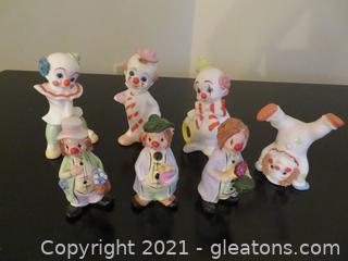 Charming Lot of 7 Enesco Clowns 1981-1984