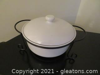 Heavy Duty Essentials for the Kitchen Covered Serving Dish or Iron Stand