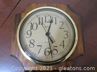Vintage Wooden, Sunbeam Quartz Wall Clock With Brass Trim