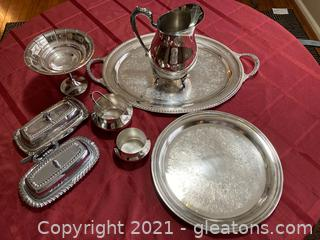 Lot of 8 Silver Plated Serving Pieces