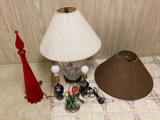 Lot of 6 3 Floral Lamps, and Home Decor