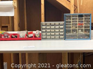 Lot of 8 Workshop Cases of Small Nuts, Screw, Etc