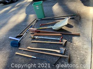 Garden/Gardge Tools W/44 QT Trash Can Lot of 17