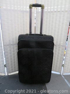 "Coach 24""H Black Soft Sided Rolling Luggage with Extending Handle"