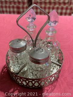 Antique Glass Salt and Pepper Caddy