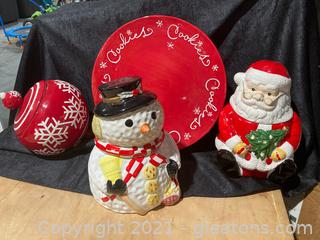 Christmas Themed Cookie Jars and Cake Plate , Lot of 4