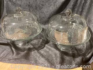 Glass Footed Cake Plate with  Domed Lid (A) Lot of 2