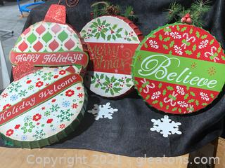 Christmas Themed Metal Wall Hangings, Lot of 4 (A)