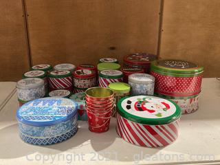 Christmas Cookie Tins with 4 Metal Small Buckets Lot of 32