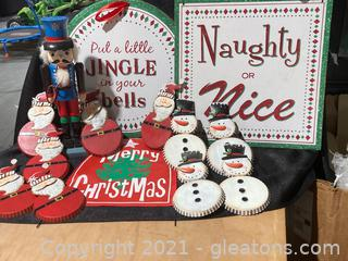 Christmas Themed Metal Wall Hangings, Lot of 14 (B) and Misc.