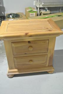 Washed Pine 2 Drawer Night Stand