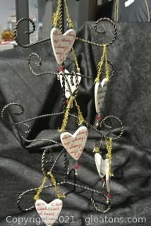 Ceramic Hearts and Metal Tree (Lot of 8)