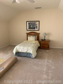 Raised Panel Twin Bed W/Mattress and Boxspring