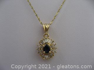 14kt Yellow Gold Sapphire and Diamond Necklace