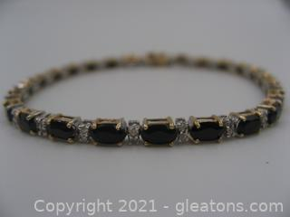 14kt Gold Onyx & Diamond Bracelet